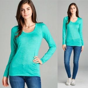 Tops - NEW ARRIVAL ! Long sleeve scoop neck aqua top